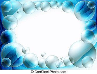 azul, burbujas, marco