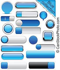 azul, buttons., high-detailed, modernos