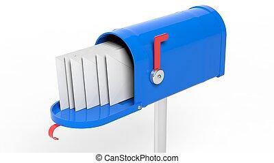 azul, buzón, con, cartas, aislado, blanco, plano de fondo