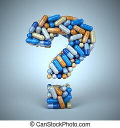 azul, cápsulas, pílulas, marca pergunta, fundo, ou