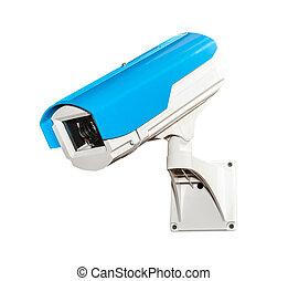 azul, câmera segurança, isolado