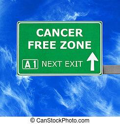 azul, câncer, zona, céu claro, contra, sinal, livre, estrada