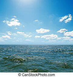 azul, céu, mar, onda