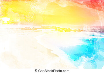 azul, céu, Nuvens, mar