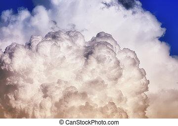 azul, céu preto, cinzento, nuvem