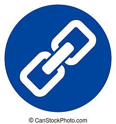 azul, círculo, cadena, icono
