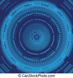 azul, círculo, dinâmico, fundo