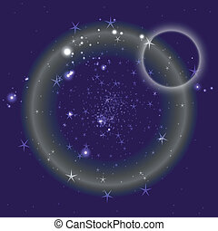 azul, círculo, fundo, com, estrelas