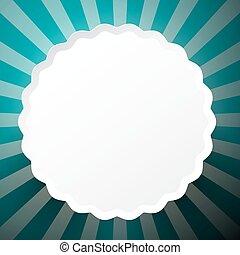 azul, círculo, papel, retro, fundo