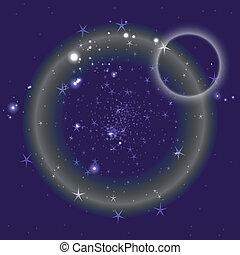 azul, círculo, plano de fondo, con, estrellas