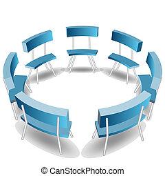 azul, círculo, sillas