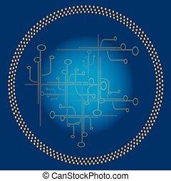 azul, círculo, tecnologia, fundo