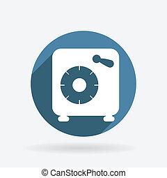azul, círculo, vault., sombra, banco, icono