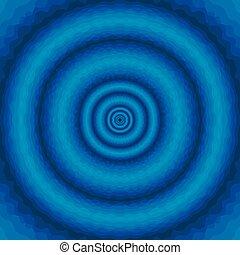 azul, círculos, abstratos, ondulado, fundo, concêntrico