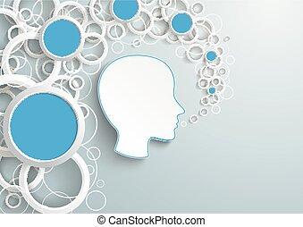 azul, círculos, cabeça, anéis, human, pó, branca