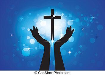 azul, círculos, concepto, cristiano, fiel, santo, jesús, -, cruz, plano de fondo, hijo, persona, gráfico, vector, devoto, estrellas, rezando, el adorarse, o, lord(christ)