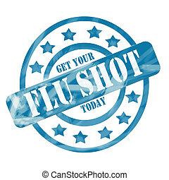 azul, círculos, tiro, resistido, estampilla, gripe, ...