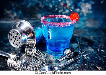 azul, cóctel, bebida alcohólica, fruits, vodka.