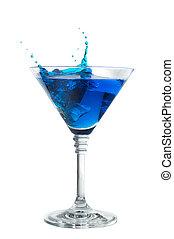 azul, cóctel, con, salpicadura, aislado, blanco