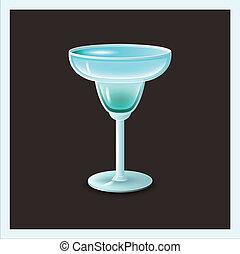 azul, cóctel, en, vidrio, -, vector, ilustración