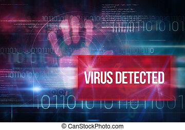 azul, código binário, vírus, contra, detected, desenho,...