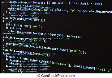 azul, código, texto, pantalla, negro, php