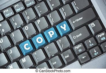 azul, cópia, tecla, teclado