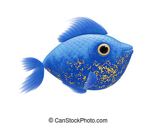 azul, cômico, peixe