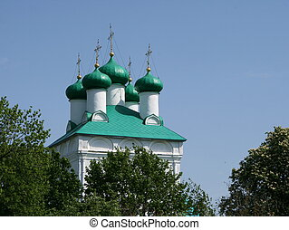 azul, cúpula, cielo, profundo, verde, catedral, cebollas