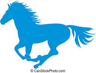 azul, caballo, cabriolar