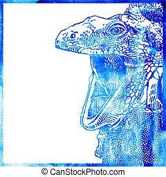 azul, cabeça, cor experiência, aquarela, lagarto, inteligência, animal