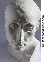 azul, cabeça, homens, estátua, gesso, cinzento, fundo, branca