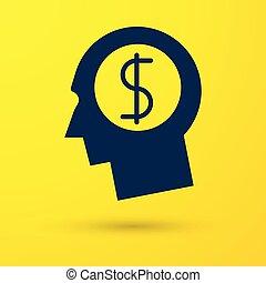azul, cabeça, vetorial, ganhar, negócio, dólar, concept., dinheiro., idéia, amarela, isolado, experiência., planificação, crescimento, ilustração, human, símbolo., homem, investimento, mente, ícone