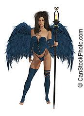 azul, cabelo escuro, winged, anjo