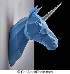 azul, cabeza, wall., negro, unicorn's, contraste, ahorcadura...