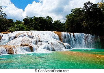 azul, cachoeira, agua