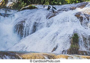 azul, cachoeiras, agua, chiapas, méxico