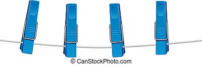 azul, cadeia, clothespins