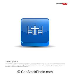 azul, cadeiras, botão, -, tabela, 3d, ícone