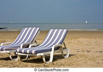 azul, cadeiras, praia