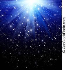 azul, caer, rayos, plano de fondo, estrellas