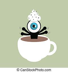 azul, café, xícara olho