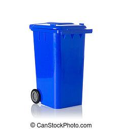 azul, cajón, aislado, white., plástico