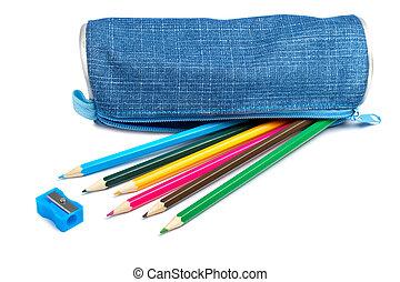 azul, caja del lápiz