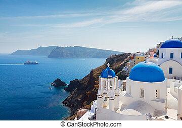 azul, caldera, cúpulas, santorini, vista
