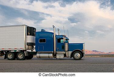 azul, camión, seguir adelante, un, carretera