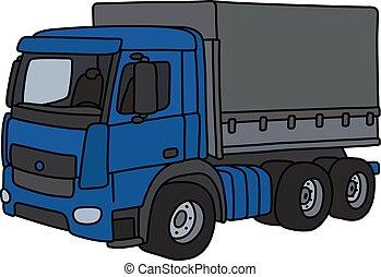 azul, caminhão carga