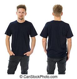 azul, camisa, escuro, posar, em branco, homem