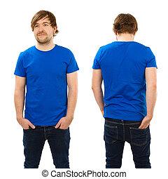 azul, camisa, jovem, posar, em branco, homem