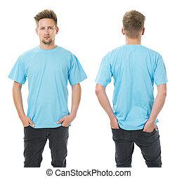 azul, camisa, luz, posar, em branco, homem